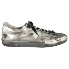 GOLDEN GOOSE SUPERSTAR RAY Size 10 Silver Metallic Leather Star Patch Sneakers