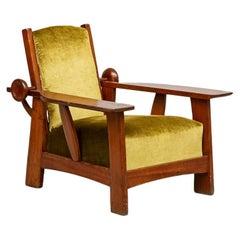 Golden Green Velvet Adjustable Armchair in Pitch Pine by Guglielmo Ulrich, 1930