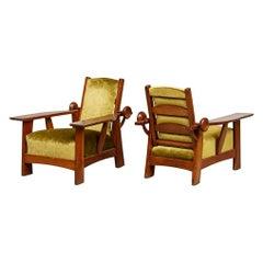 Golden Green Velvet Adjustable Armchairs in Pitch Pine attr. Guglielmo Ulrich