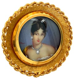 Gold Hand Painted Retro Brooch, Pendant with Portrait of Young Lady, Diamond