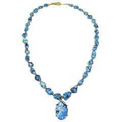 Golden Hill Turquoise 14 Karat Gold Pendant Beaded Necklace