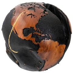 Golden Hook, Globe Made of Teak Root, Gold Paint, Metal Texture Finishing 30 cm