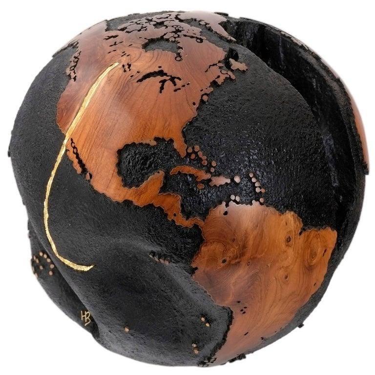 Golden Hook, Globe Made of Teak Root, Gold Paint, Metal Texture Finishing 30 cm