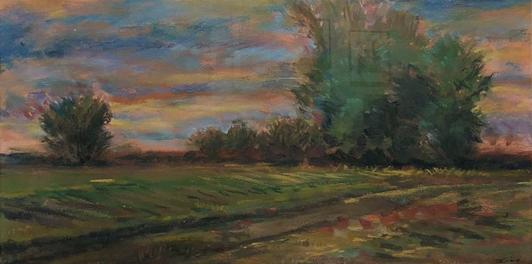 Hand-Painted Golden Hued Landscape, Soft Pastel on Paper, Rural Scene with Tree Bank and Sky For Sale