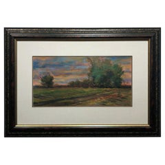 Golden Hued Landscape, Soft Pastel on Paper, Rural Scene with Tree Bank and Sky