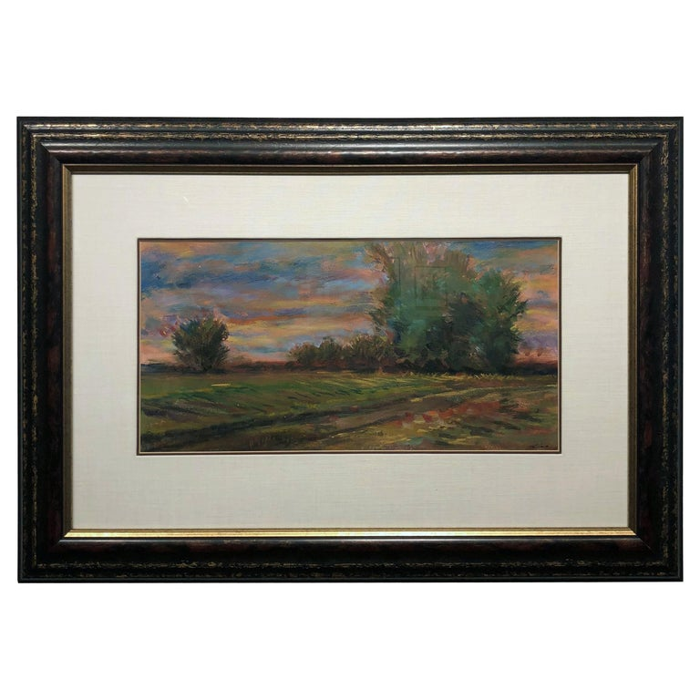 Golden Hued Landscape, Soft Pastel on Paper, Rural Scene with Tree Bank and Sky For Sale