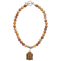 Golden Jade Tiger's Eye Buddha and Pave Diamond Clasp Necklace