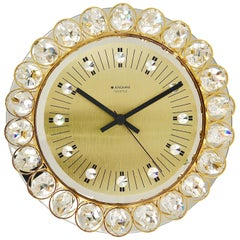 Golden Junghans Hollywood Regency Gilt and Crystals Wall Clock, Germany, 1950s