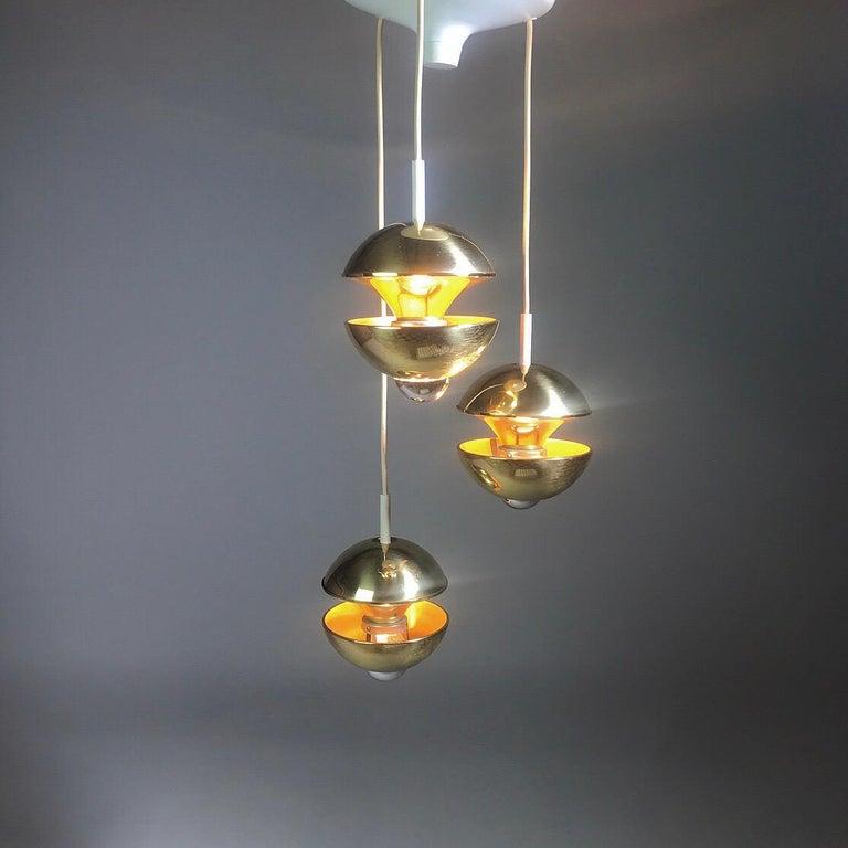 Brass Golden Kaskade Ceiling Light by Klaus Hempel for Kaiser Leuchten, Germany, 1970s For Sale