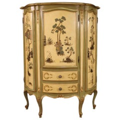 Golden, Lacquered and Painted Venetian Cupboard, 20th Century