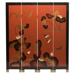 """Golden Lotus"" Chinese Lacquered Four-Panel Screen, circa 1930s"