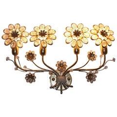 Golden Metal Crystal Glass Vintage Flower Sconce Wall Light Palwa, 1970s