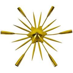 Golden Midcentury Brass 6-Arm Sputnik Chandelier, 1950s