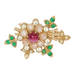 Golden Moonglow Bead Cabochon and Crystal Flower Pin, Mid 1900s