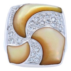 Golden Mother of Pearl & Diamond Ring, 14k White Gold Round Brilliant .35ctw