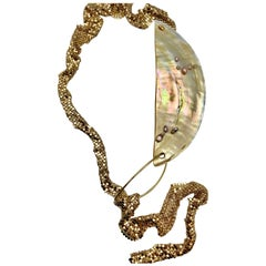 Sylvia Gottwald, Extra ,Golden Mother of Pearl Neck/Pendant , Gilded Chain Mail.