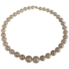 Golden Natural Color South Sea Pearls Round, 18 Karat Gold