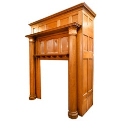Golden Oak fireplace Mantel with Octagonal Columns