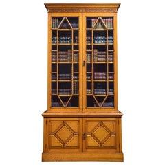 Golden Oak Two-Door Bookcase