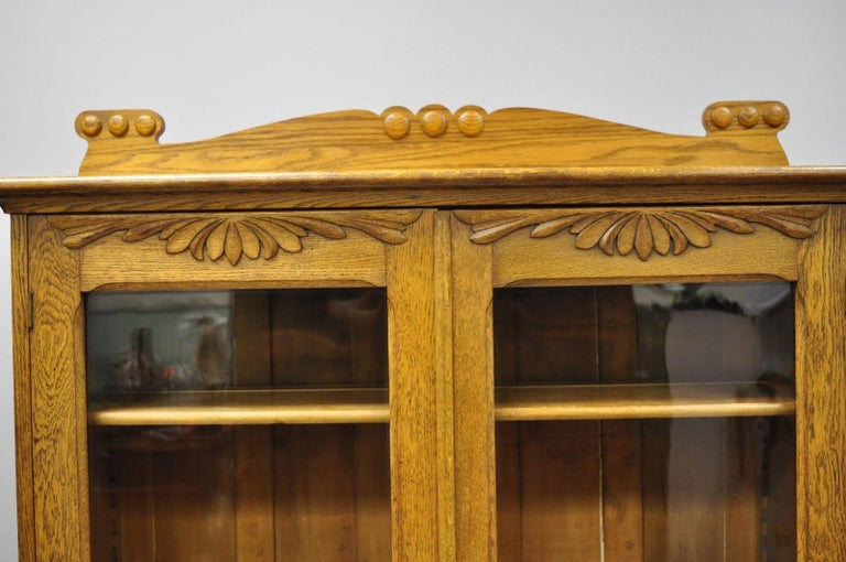 American Golden Oak Victorian Glass Two-Door Bookcase China Cabinet Curio Two Drawers For Sale
