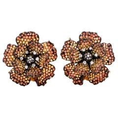 Golden Orange Sapphire 18 Karat yellow Gold Clip Earrings