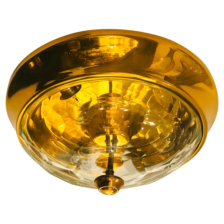 Golden Oscar Torlasco Lumi Crystal 1970s Italian  Flush Ceiling Light