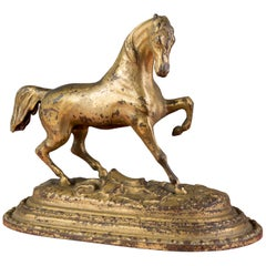 Golden Painted Iron Horse Statue, France, 1920s
