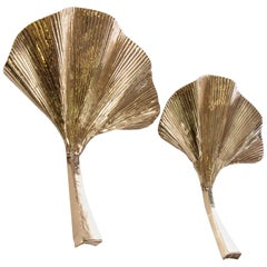 Golden Ginkgo Leaf Wall Sconce Brass, Italy, Set of 2