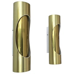 Golden Pair of Midcentury Tubular Wall Sconces by Marca, S.L., 1970s