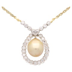 Golden Pearl and Diamond Pendant Necklace Set in 18k Yellow and White Gold