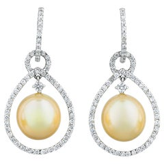 Golden Pearl and Diamond Teardrop Earrings