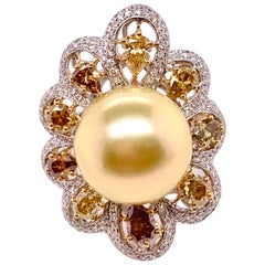 Golden Pearl and Fancy Color Diamond Cocktail Ring