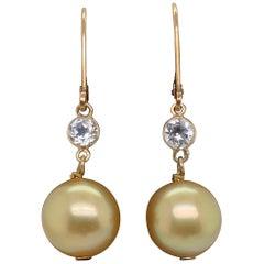 HARBOR D. Golden Pearl and Semi Precious Gem Drop Earrings 14 Karat Yellow Gold