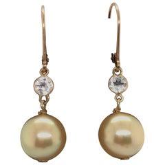 Golden Pearl Semi Precious Drop Earrings 14 Karat Yellow Gold