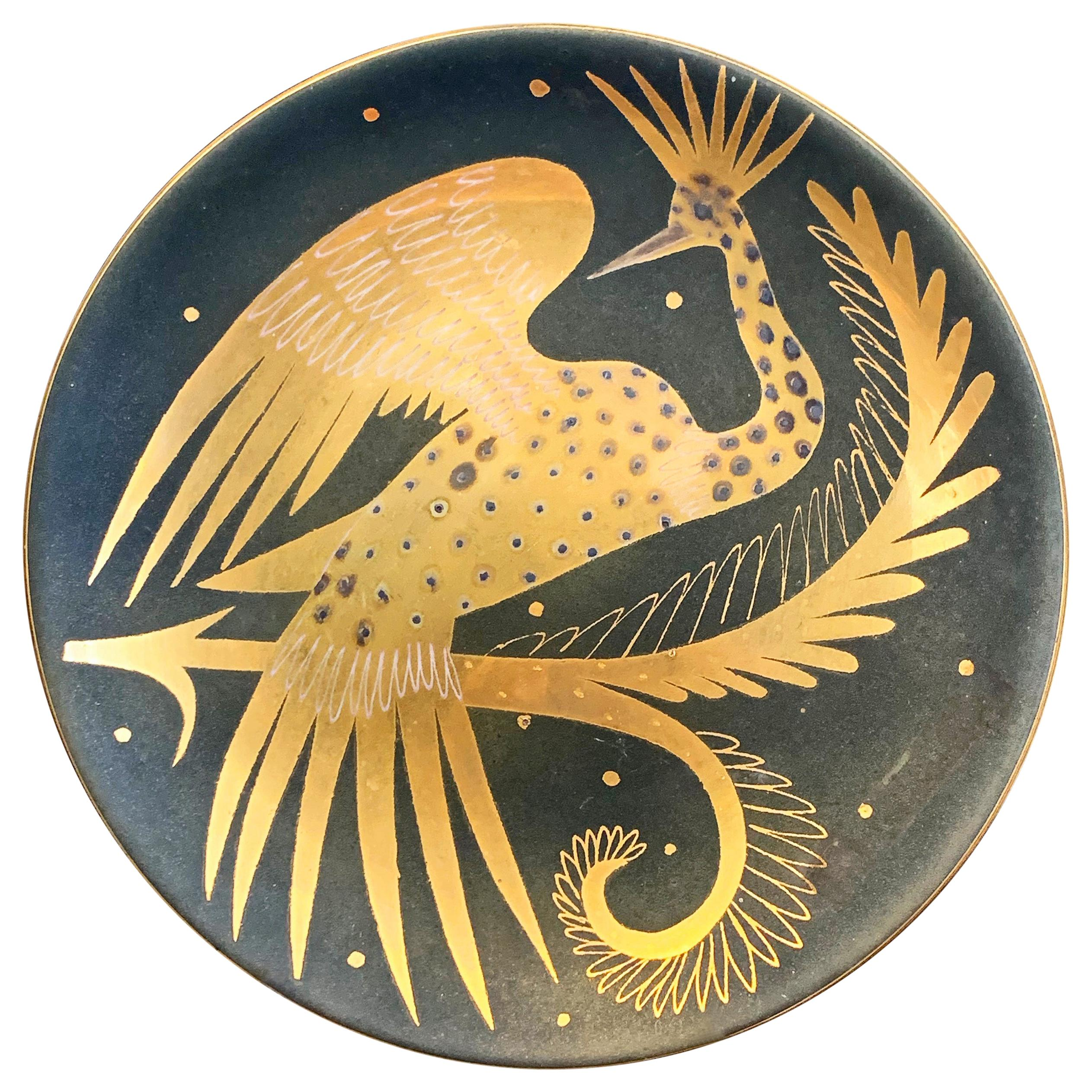 """""""Golden Phoenix,"""" Unique Art Deco Plate in Gold and Charcoal by Waylande Gregory"""