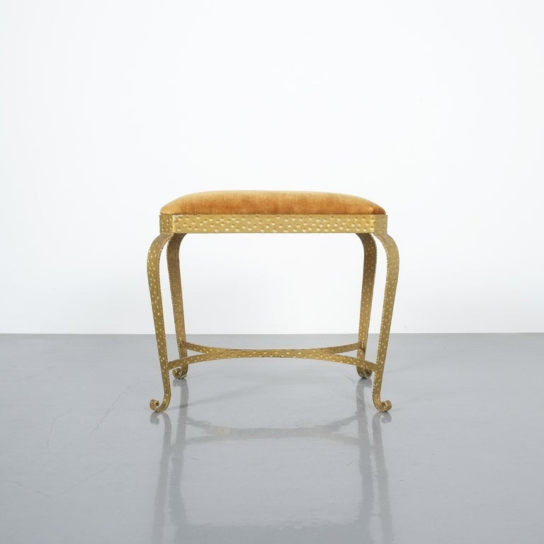 Golden Pier Luigi Colli Iron Console Table With Blue Glass, Italy, 1950 For Sale 5