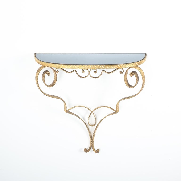Golden Pier Luigi Colli iron console table, Italy, 1950. Cute 25