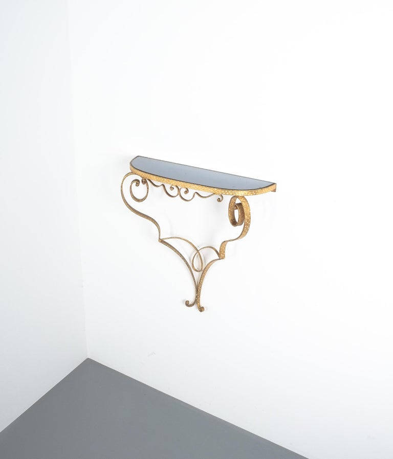 Italian Golden Pier Luigi Colli Iron Console Table With Blue Glass, Italy, 1950 For Sale