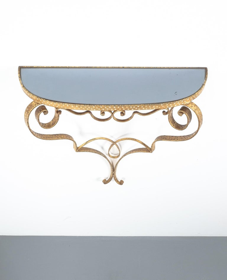 Golden Pier Luigi Colli Iron Console Table With Blue Glass, Italy, 1950 In Good Condition For Sale In Vienna, AT