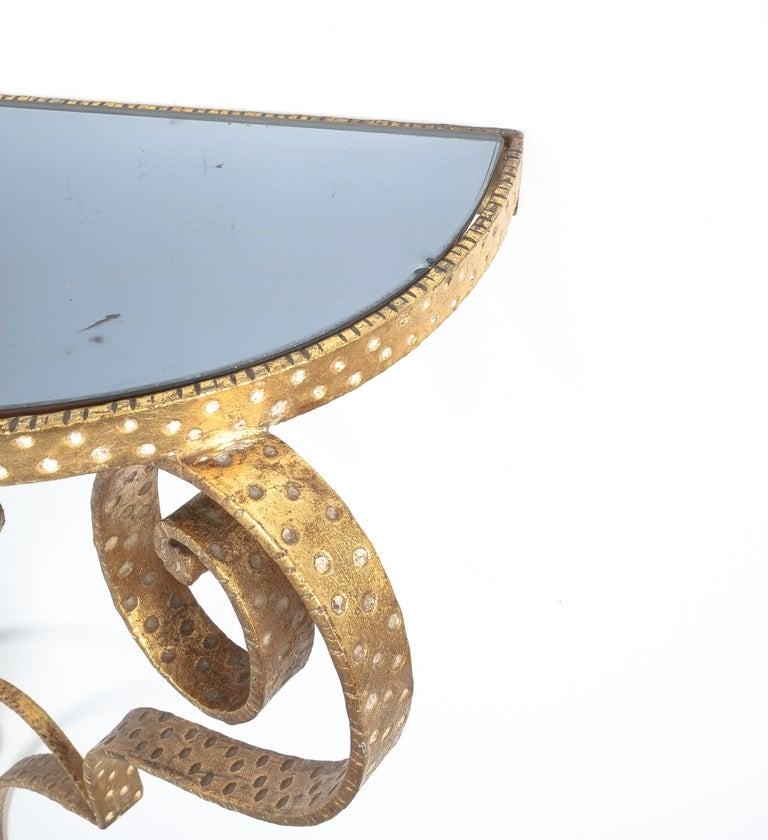 Mid-20th Century Golden Pier Luigi Colli Iron Console Table With Blue Glass, Italy, 1950 For Sale
