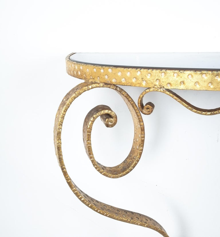 Golden Pier Luigi Colli Iron Console Table With Blue Glass, Italy, 1950 For Sale 1