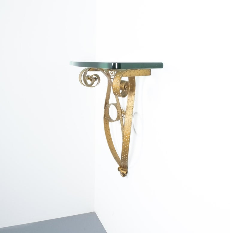 Golden Pier Luigi Colli Iron Console Table with Thick Glass Top, Italy, 1950 For Sale 3