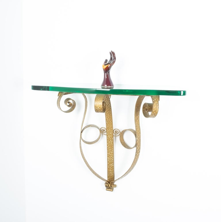 Golden Pier Luigi Colli Iron Console Table with Thick Glass Top, Italy, 1950 For Sale 4