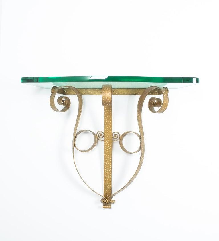 Golden Pier Luigi Colli iron console table, Italy, 1950. Rigid 35