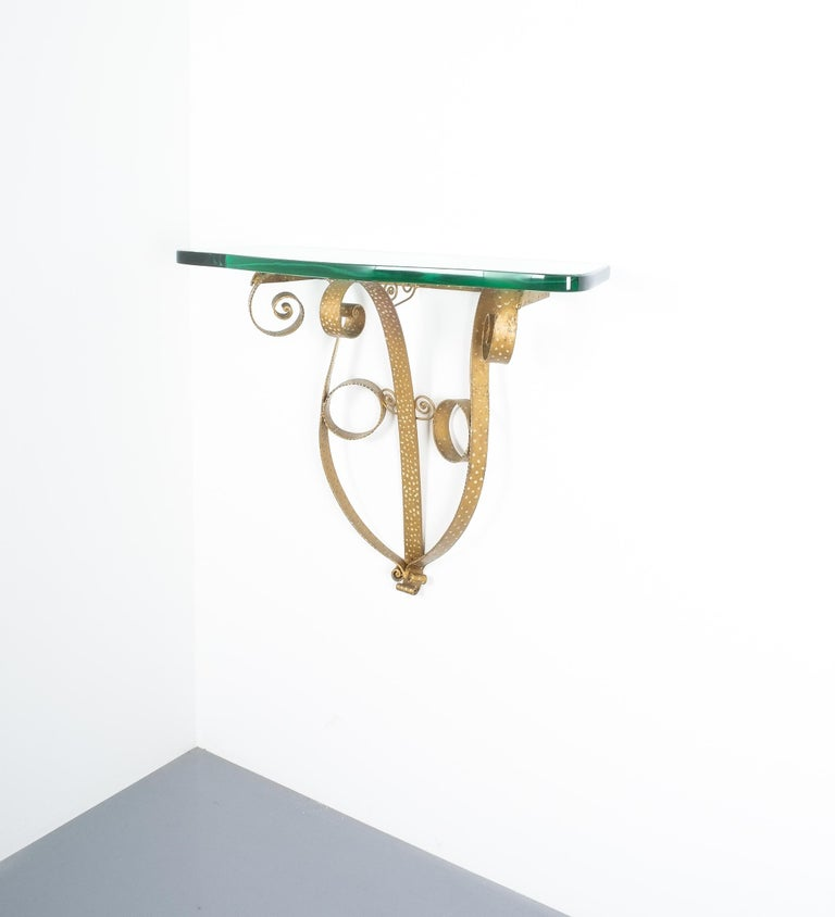 Mid-Century Modern Golden Pier Luigi Colli Iron Console Table with Thick Glass Top, Italy, 1950 For Sale
