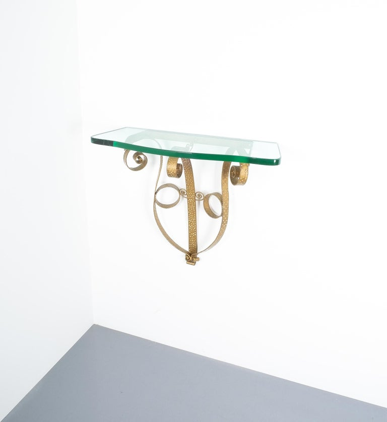 Italian Golden Pier Luigi Colli Iron Console Table with Thick Glass Top, Italy, 1950 For Sale