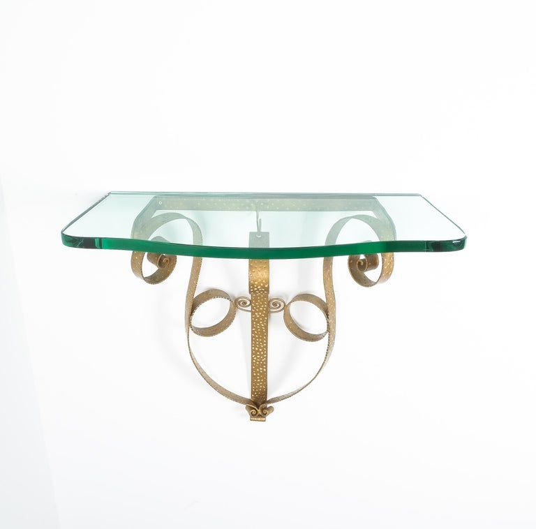 Mid-20th Century Golden Pier Luigi Colli Iron Console Table with Thick Glass Top, Italy, 1950 For Sale