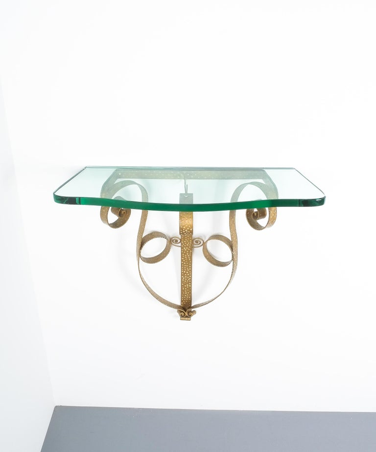 Golden Pier Luigi Colli Iron Console Table with Thick Glass Top, Italy, 1950 For Sale 1