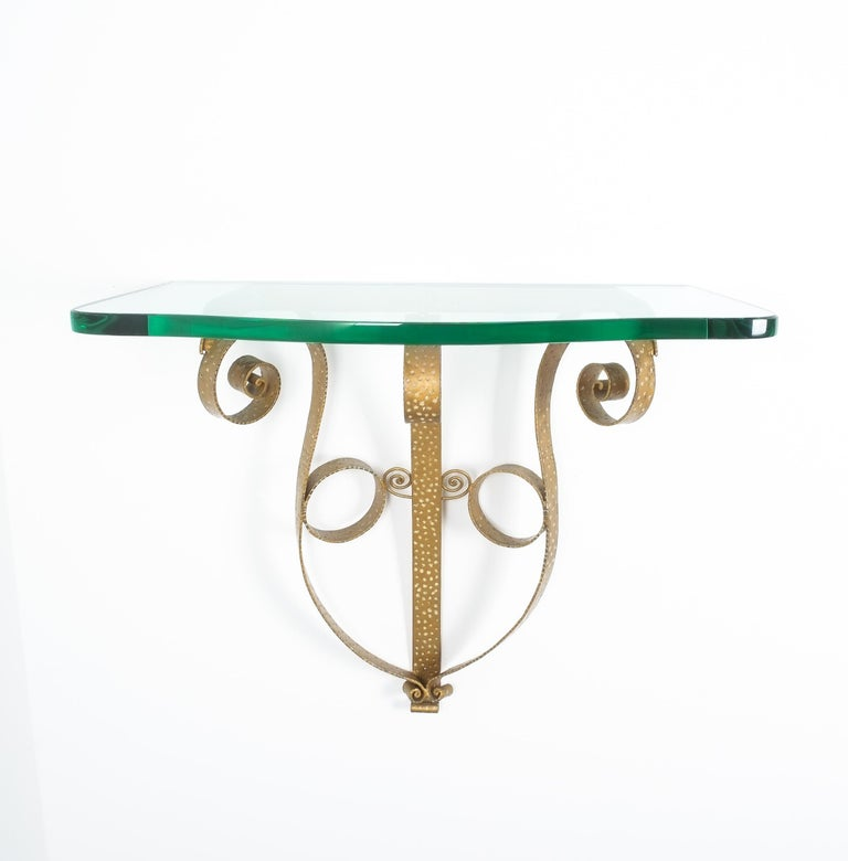 Golden Pier Luigi Colli Iron Console Table with Thick Glass Top, Italy, 1950 For Sale 2