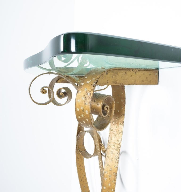 Gilt Golden Pier Luigi Colli Iron Console Table with Thick Glass Top, Italy, 1950 For Sale